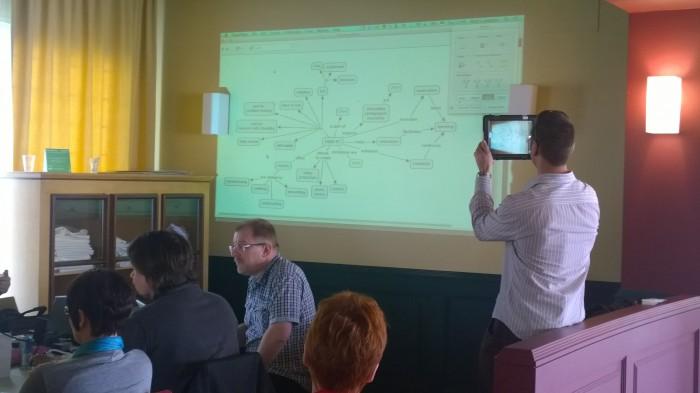 Tahvelarvutikoolitusel osalenud 11 riigi õpetajad õppisid, kuidas koostada tahvlite abil fotoesitlusi ja videojutustusi ning õpimappi, kuidas luua õpetlikke koomikseid ning teha uurimisõpet. Fotod: Robert Conings