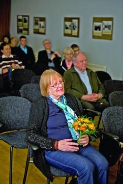 Helga Nõu möödunud nädalal Tartus kirjandusmuusemis, abikaasa juubelinäituse avamisel.