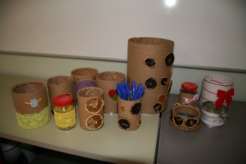 Õpilasfirma tooted: ettevõtlustundides õpitakse ka, kuidas firma tegemine käib. Eelmisel aastal oli üks edukamaid õpilasfirmasid Käest Kätte, eesmärgiga teha taaskasutatavast materjalist midagi asjalikku.