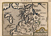 Liivimaa kaart 16.–17. sajandi vahetusest. Theoderic, alustanud oma teekonda Koiva jõge pidi alla sõites, võis suunduda suvalisse paika Eestimaal. Eestimaad peeti saareks ca 1070 ja ka Bremeni Adam kirjeldab Eestimaa (Aestland) saart.