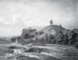 Kalevipoja magamisase emakese maa rinnal. Kalevipoja säng Alatskivil. Fr. Schlateri akvarell, 1835.