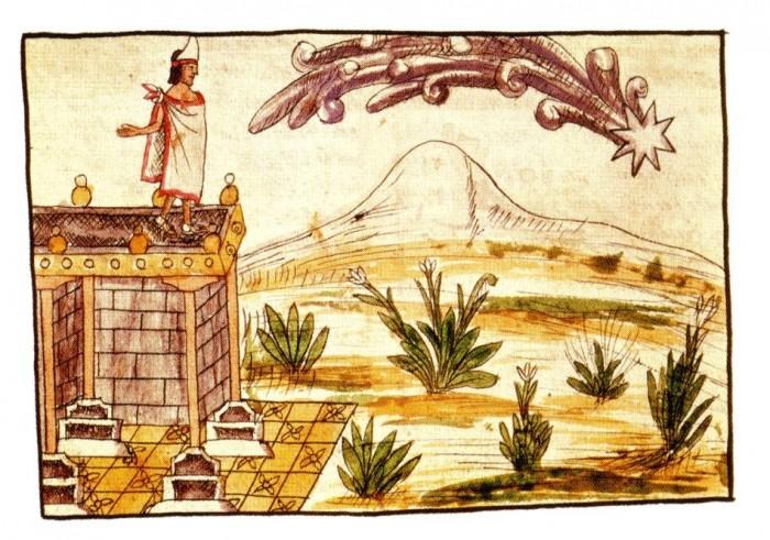 Montezuma komeet, 1519. Asteekide valitseja Montezuma arvates ennustas komeet ette taevamao ja loojajumala Quetzalcoatli tagasitulekut. Saabus hoopis Hernan Cortes oma kambaga. Usk komeedi jumalikku tähendusse resp. jumala ilmumisse komeedina on seega maksnud muudelegi meestele valusalt kätte.