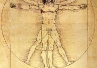 ▲ Leonrado Da Vinci, nn Vitruviuse mees, 1490. Inimene, vertikaalne ja horisontaalne, mahub lahedasti nii ringi, ruudu kui ka viisnurga sisse. Ring on tähendanud vanadel aegadel taevaringi, ruut maad ja viisnurk taevajumalannat. Vertikaalne inimene pürib kõrgematesse vaimsetesse sfääridesse, horisontaalne inimene teinekord lihtsalt laiutab.