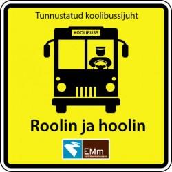 Nüüdsest  tunnevad lapsed  tunnustatud koolibussijuhid ära selle kollase kleepsu järgi esiklaasil.