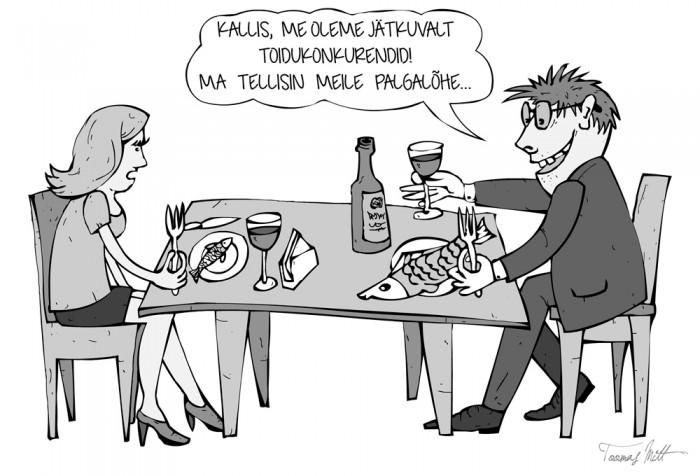 """Mõnes mõttes on tänapäeva ühiskonnas mehed ja naised jätkuvalt """"toidukonkurendid"""". Võitlus käib rahale ja võimule. Illustratsioon: Toomas Mitt"""