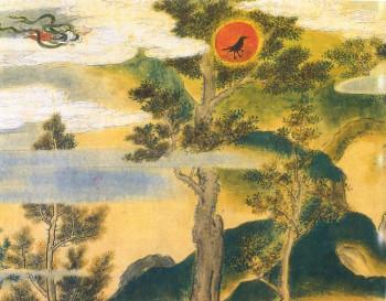 Hiina maailmapuu (tõenäoliselt akaatsia), kolmejalgne päikesevares otsas.