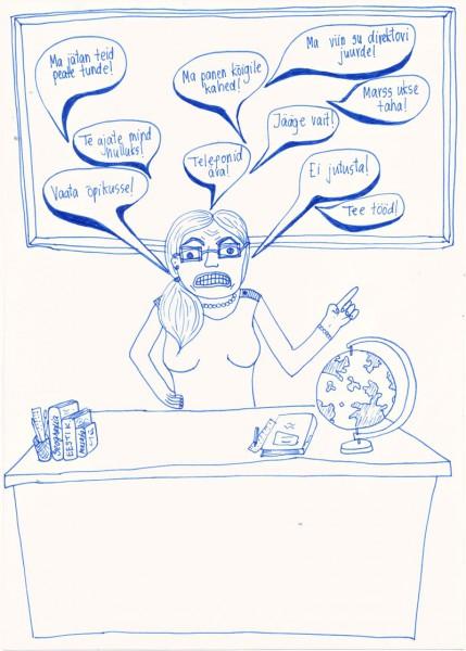 """Õpilaste karikatuurivõistlusel """"Mida naerad, koolijüts?"""" osalenud Pelgulinna gümnaasiumi õpilase Heleriin Kolbaki töö teemal """"Vaata kooli"""" (juhendaja Jüri Mäemat)."""