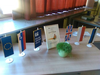 Eesti lipp Velenje koolituskeskuses. Siin algatati Sloveenia kutsekoolide elektroonilise enesehindamise süsteem.