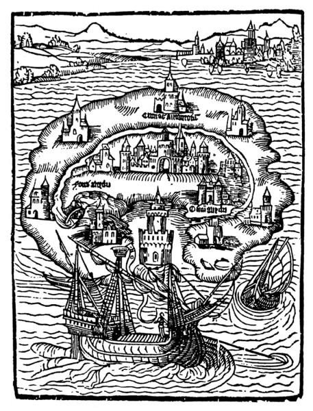 """Thomas Morus, """"Utoopia"""". Esmaväljaande tiitelleht, 1516."""