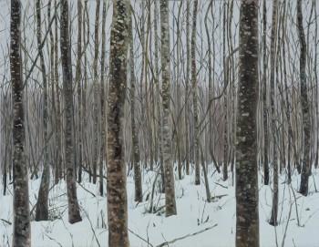 """Jane Remmi maal """"Eesti mets. Jaanuar"""" näitus-oksjonil """"Puhastatud maailm. Purified world"""". Foto: Haus galerii"""