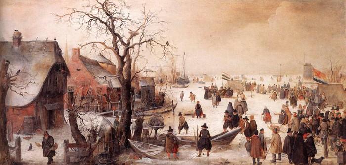 Hollandi talvemaastik kinni külmunud kanaliga. Hendrick Avercamp, 1620–1634. Väike jääaeg. Musta Surma külaskäigud. Ikaldused. Eriti suur külm valitses 1570–1630 ja 1675–1715. Mida kauem halvad ilmad jätkusid, seda kindlamaks sai veendumus, et süüdi on nõiad.