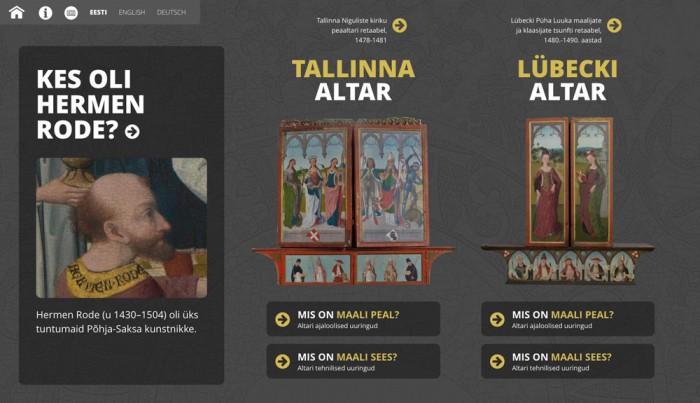 """""""Rode altar lähivaates"""" multimeediaesitluse avaleht."""