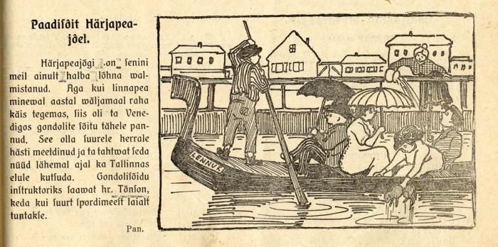 Karikatuur Härjapea jõest satiirilehes Kilk, 19/1912.