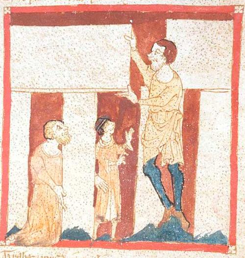 Vägeva võluri Merlini vägev abimees: hiiglane abistab Merlinit Stonehenge'i rajamisel. Käsikirjaillustratsioon (British Library).