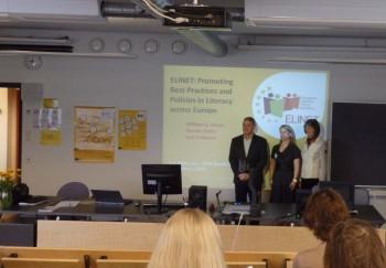 Euroopa lugemispoliitika kujundamise võrgustiku ELINET etteaste Turu konverentsil. Foto: erakogu.