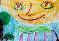 7-aastase kriminaalsest perest pärit lapse  töö aastate tagant. Ülejäänud tundides laps peksis teisi,  sh õpetajaid, aga kunstiõpetuse tunnis istus 45 minutit ja joonistas  rõõmsaid värvikirevaid pilte. Kui vaid sel ajal oleks olnud usku kunstiteraapiasse ... Repro: Kersti Kinks