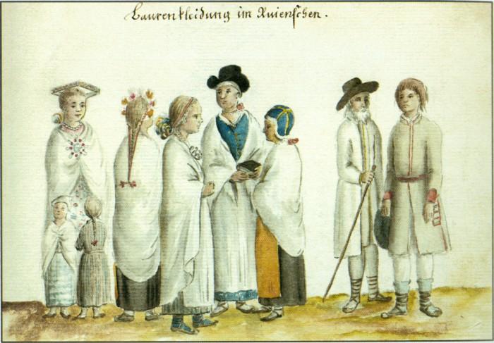 Ruhja naised J. Chr. Brotze järgi, 18. sajand. Nelinurkne pärg pruudi peas peaks viitama emajumala, siinkohal siis maaema võrdkujule. Nelinurk ja rist on maa sümbol (põhi, lõuna, ida, lääs). Mõrsja ruudukujulises peapärjas nähakse Eesti mõjutusi.