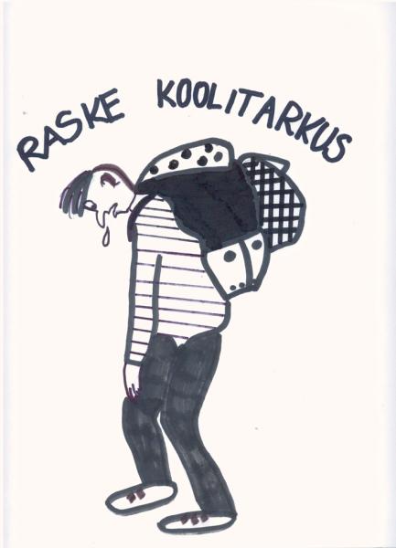 """Loodetavasti muudavad digiõpikud ranitsad kergemaks. Karikatuurivõistluse """"Mida naerad, koolijüts?"""" osaleja Carol Ranna töö teemal """"Vaata kooli"""" (Tartu loodusmaja kunstiring, juhendaja Kiira Kahro)."""