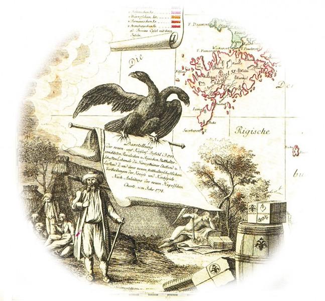 Vene kahepäise kotka tiiva all. Detail Liivi-, Eesti- ja Saaremaa kaardilt. J. Chr. Brotze, 18. sajandi lõpp.