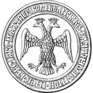 Ivan III pitser. Saksa-Rooma keisrikotka sarnase vapilinnu kasutamisega olevat IvanIII rõhutanud võrdsust absburgidega.