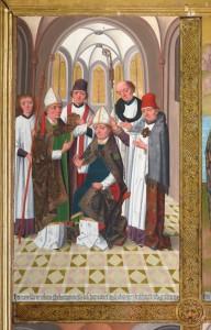 Püha Nikolause piiskopiks pühitsemine. Detail Tallinna Niguliste kiriku peaaltari retaablilt. Lübecki meistri Hermen Rode töökoda, 1478–1481.