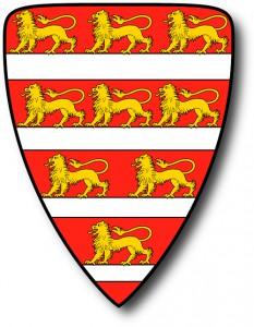 Ungari monarhide vanim tiitlivapp: üheksa kõndivat lõvi kuningas Imre 1202. aastasse dateeritud vapipitseril.