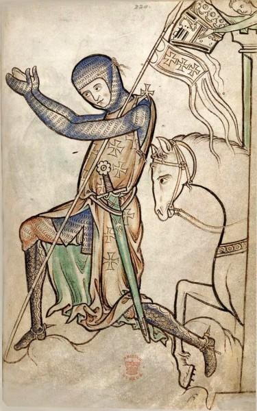 """Põlvitav rüütel, Templiordu ristid rüül ja lipul, ca 1250. Illustratsioon Karl Kello raamatust """"Templirüütlid Saaremaal""""."""