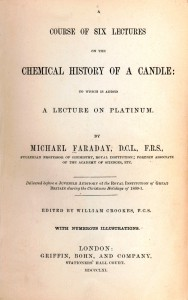 """""""Küünla keemiline ajalugu"""" (The Chemical History of a Candle), 1861. Algselt oli see osa Michael Faraday (1791–1867) nn jõululoengute seeriast."""
