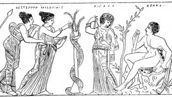 Herakles on saabunud hüperborealaste maale kuldõunu hankima. Õunapuud valvavad Öö või Atlase tütred hesperiidid koos draakon Ladoniga.