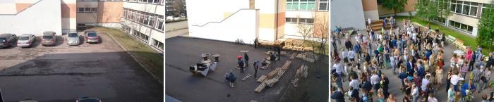 Tallinna Saksa gümnaasiumi hoovis on nüüd parkla asemel õdus õpi- ja puhkeala. Õpilased meisterdasid taaskasutusmaterjalidest mööblit ja kutsusid vanemadki appi. Fotod: Tallinna saksa gümnaasium