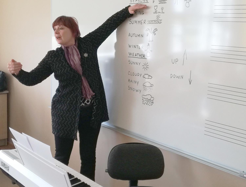 ebbe37190d8 Lapsed harjutavad astmekõrguste käemärke ja õpivad uusi ingliskeelseid  sõnu. Teemaks on ilm ja aastaajad. Foto: Karmo Lugima