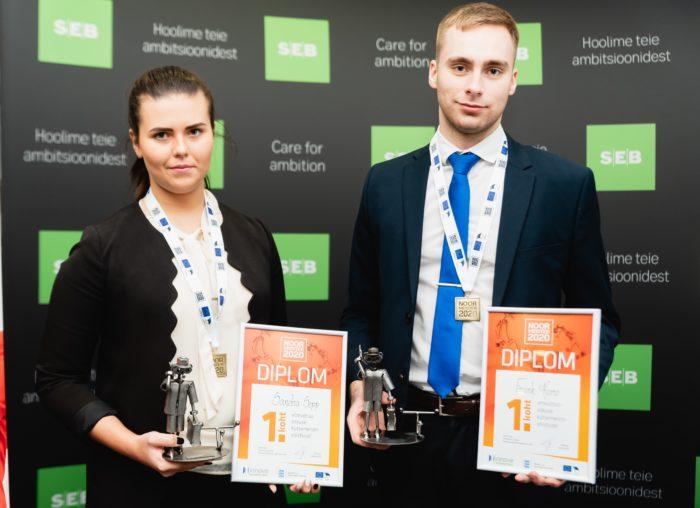 Eesti esimeste ettevõtlusoskuste kutsemeistrivõistluste võitjad Sandra Sepp ja Frank Karro. Fotod: Edu ja tegu