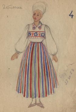 """Kunstnik Marsel-Marija Koente oli üks Kargopollagi vange. Erinevalt Brigitta Polivanovast jäi ta ellu. Hiljem saadeti ta vangilaagrisse Leedus. Siin on tema joonistus """"Eestlanna"""" – laagriteatri kostüümikavand (1953). www.gulagmuseum.org"""