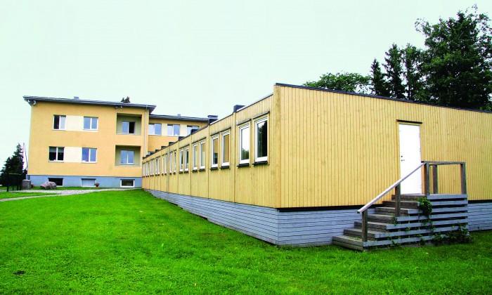 Assaku lasteaia konteinertiib. Ka Tallinna koolivõrgu arengukava näeb ruumipuuduse leevendajana ette konteinerklasse. Foto: Raivo Juurak