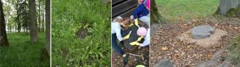 Kõpu põhikooli pärandivaderid korrastasid koolipargis mõisniku koerahaua. Fotod: Kadri Linder