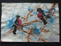 """""""Talvine vestlus"""". Autor 4-aastane Cassandra Pettai Valga Walko lasteaiast. Lasteaia vanuserühma võidutöö."""